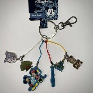 Mickey Minnie Four Parks Keychain Key Ring WDW